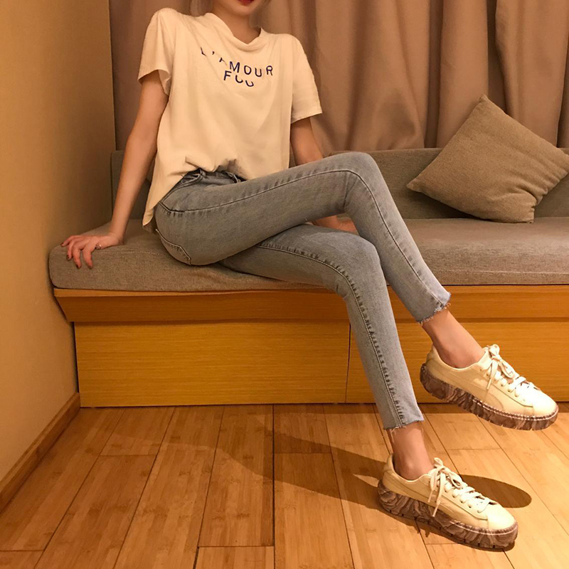 Jeans   with high waist brand   jeans   pencil pants street wear bleached pants 8A47