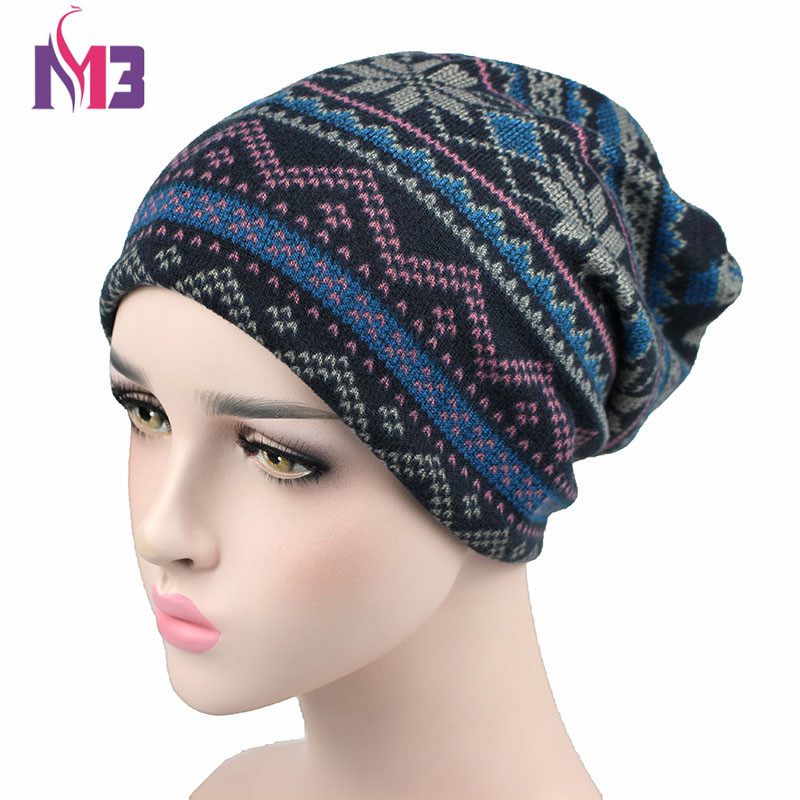 Autumn Winter Women's Beanies Hat Unisex Knitted Polyester Skullies Two Used Neck Warmer Casual Cap Floral Ski Gorros Cap autumn winter skullies beanies hat unisex couple knitted wool casual cap solid colors winter warmer print casual gorros cap