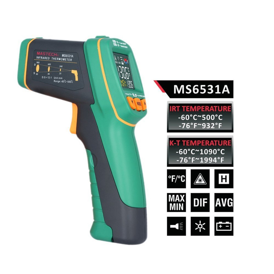 2017 Original Mastech MS6531A color display infrared Thermometer -60~500 degree with K type thermometer Free Shipping
