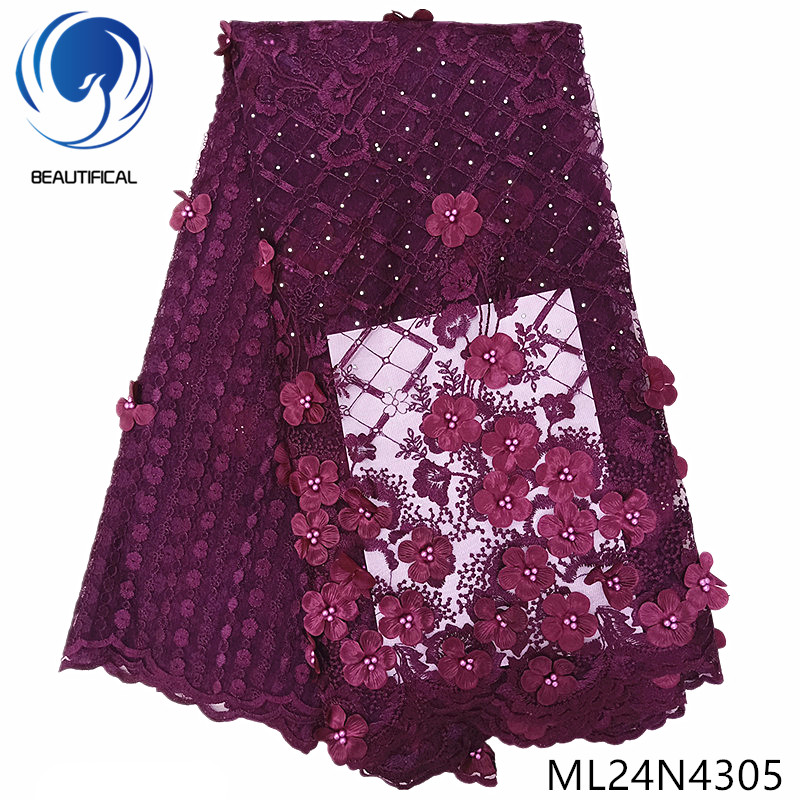 BEAUTIFICAL nigerian 3d lace fabrics flower tulle french beads lace nigerian 3d lace embroidery 2019 ML24N43BEAUTIFICAL nigerian 3d lace fabrics flower tulle french beads lace nigerian 3d lace embroidery 2019 ML24N43