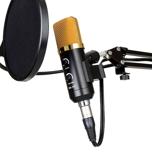 Professional USB Cardioid Condenser Microphone 3.5mm Audio Studio Vocal Recording Mic Broadcasting Microphone with Mount Stand