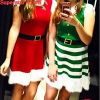 Giáng sinh ladies cosplay xmas ở santa elf dress trang phục không tay nhỏ váy sexy