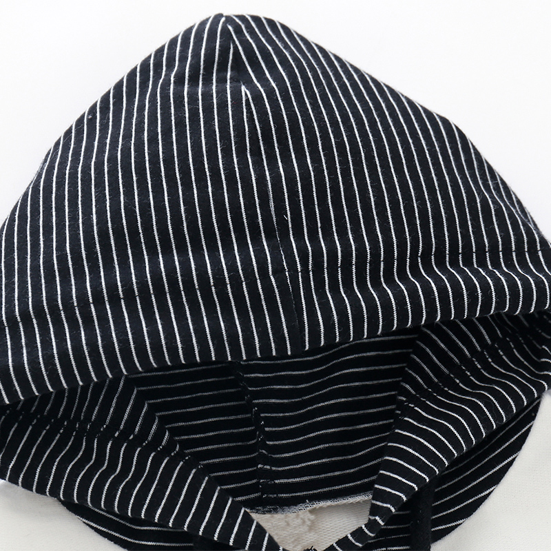 COOTELILI 80-130cm Fashion Striped Baby Girls Clothes Baby Boys Hoodies Kids Cool Hip-Hop Sweatshirt Children Tops Black White (8)