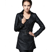 2017 Spring Jacket Women Black Fuax Long Leather Jacket Motocycle PU Leather Suede Belts Epaulets Dual Use Collar AUMAN1237