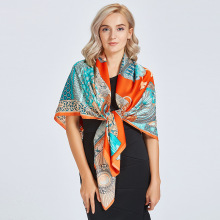 2019 Autumn New Silk Scarf Female Big Warrior Twill 130cm Travel Shawl Women`s