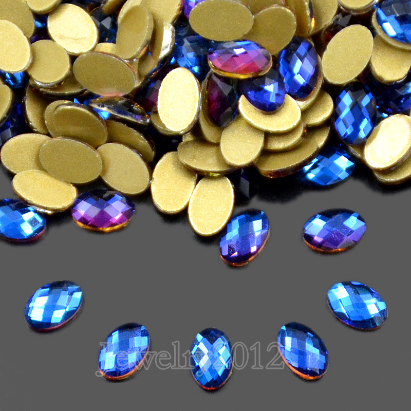 402d07c6c35c9 US $8.99 |100PCS/Pack 10 Oval 4x6mm Top Czech Crystal Nail Blue AB No  Hotfix Rhinestone Flatback Art Decoration Diy Multi Shape Wholesale-in  Beads ...