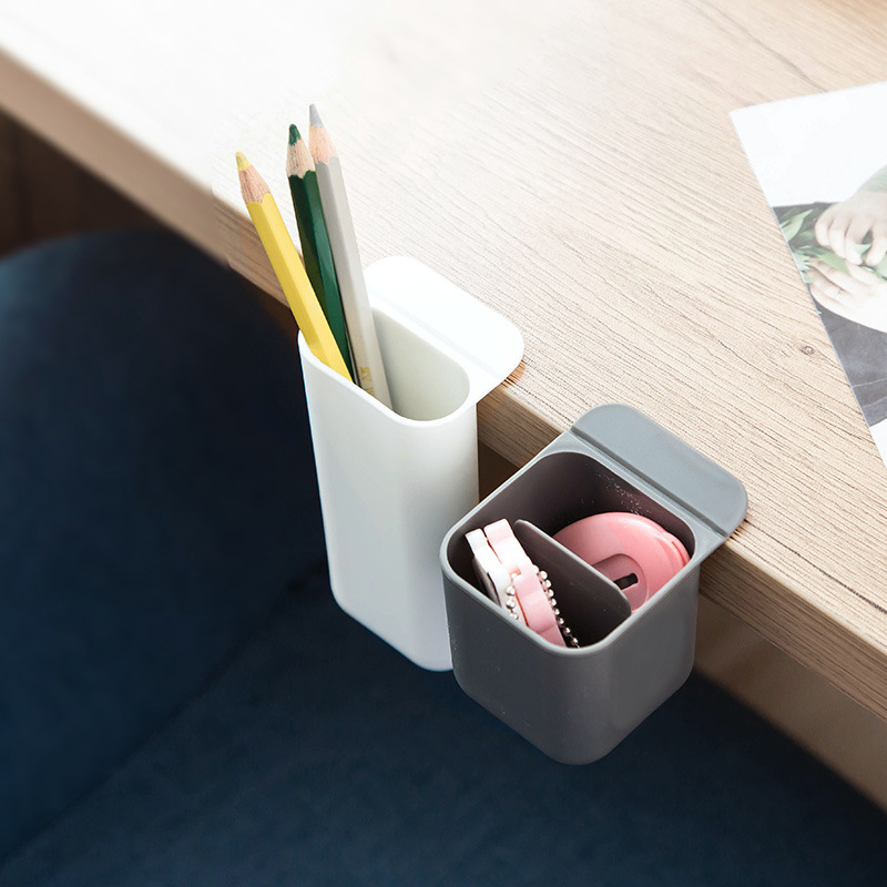 1pc Creative Desktop Monitor Paste Type Pen Holder Multifunction Office Desk Debris Stationery Pen Storage Box