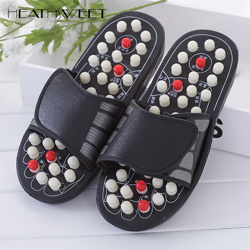 Healthsweet Acupoint Massage Slippers Sandal Feet Chinese Acupressure Rotating Foot Massager Shoes Acupuncture Therapy Medical chic rhinestone petal flower necklace for women