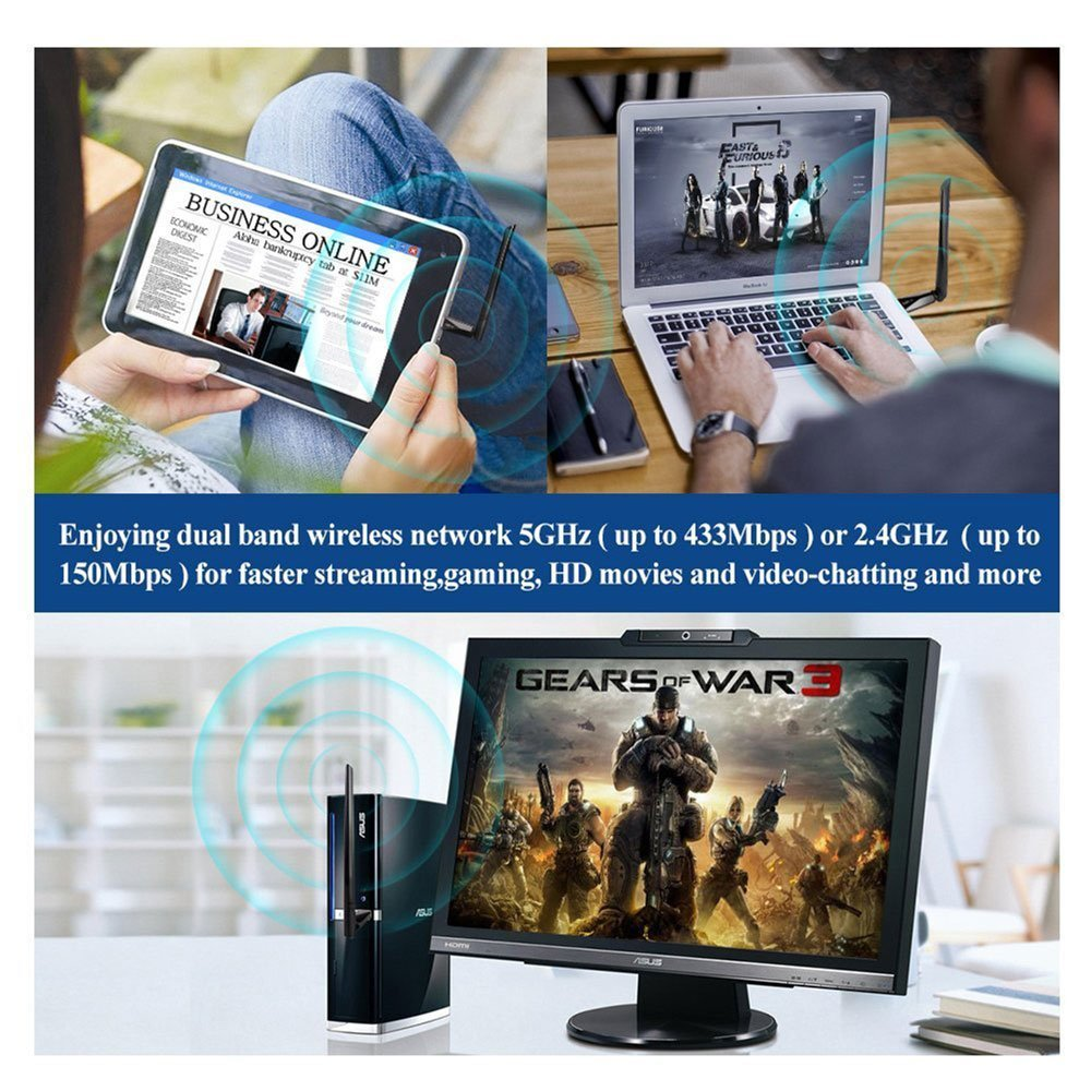 ZAPO 5G WiFi USB Bluetooth 4.0 Adapter Dualband Wireless AC 600M High - Netzwerkausrüstung - Foto 6