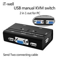 IT-cũng VGA Switch KVM Chuyển Điều Khiển 2 CÁI Máy Chủ bởi 1 Bộ của USB Bàn Phím Chuột và VGA Monitor Multi PC Quản Lý Cáp Gốc