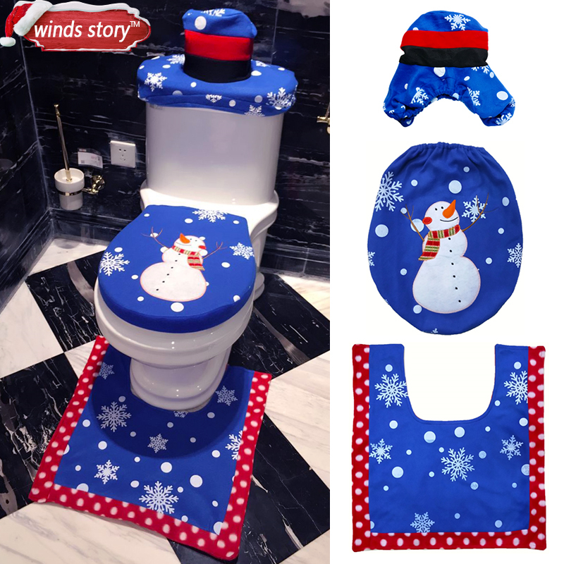 Awe Inspiring Us 8 96 Christmas Bathroom Products 3Pcs Set Xmas Decoration Blue Snowman Toilet Seat Cover And Rug Bathroom New Year Home Decorations In Toilet Cjindustries Chair Design For Home Cjindustriesco