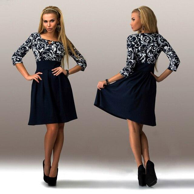 Новый 2018 Повседневное Стиль Для женщин летнее платье Sexy Половина рукава принт офисная рубашка Платья для женщин Лоскутная Повседневная обувь платье трапециевидной формы S-5XL Размеры