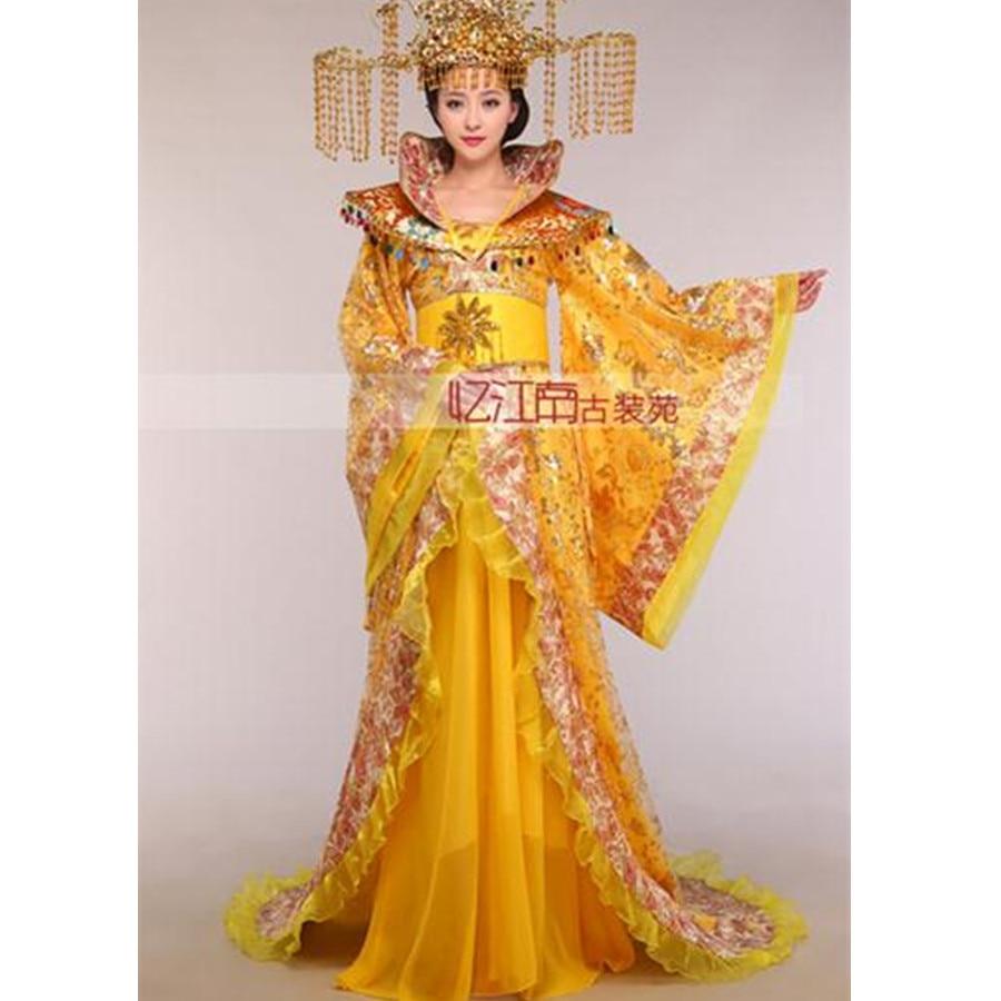 Для женщин Стенд воротник благородное платье со шлейфом королева династии Тан одежда Китайский древний костюм