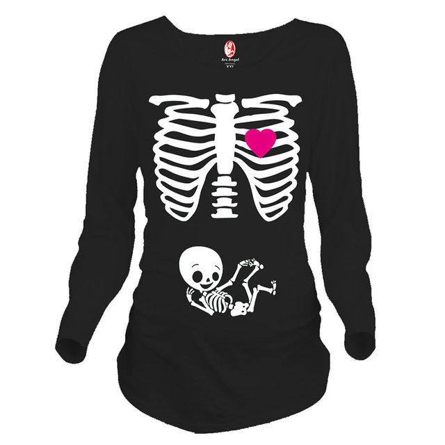 Funny pregnancy shirts print skeleton maternity tops for pregnant women long sleeve soft cotton t-shirts plus size tees wholsale