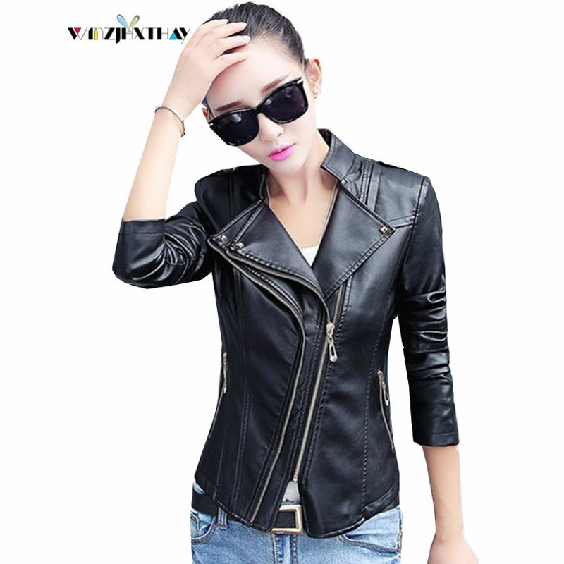 2019 New Women Short PU Coat Fashion Long-sleeved Solid Color Faux   Leather   Jackets Casual Temperament Slim Outerwear Female PY15