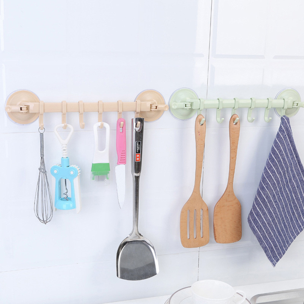 Plastic Suction Cup Kitchen Hanger Organizer Bath Towel Clothes Bathroom Hook Cooking Tool Vacuum Storage Rack #20