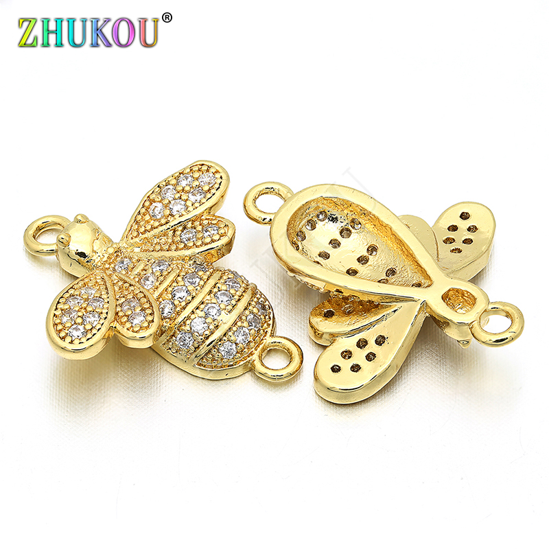 One Piece 17*20mm Handmade Brass Cubic Zirconia Bees Chrams Connectors DIY Jewelry Bracelet Necklace Making Model: VS54
