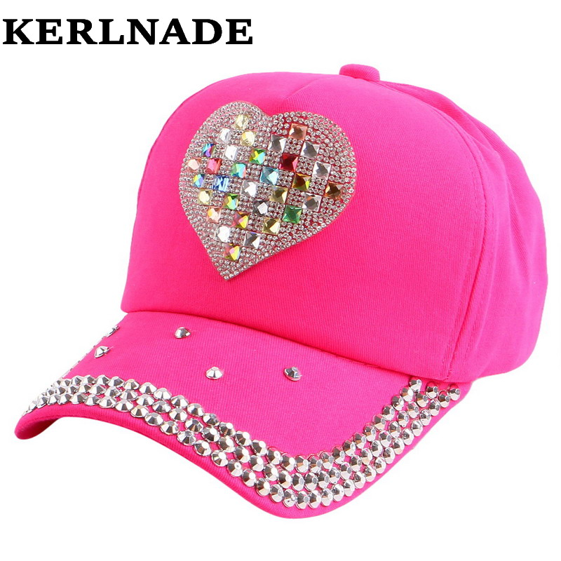 2016 new trendy heart shaped character cartoon style summer children boy girl rhinestone baseball cap jean denim snapback hats