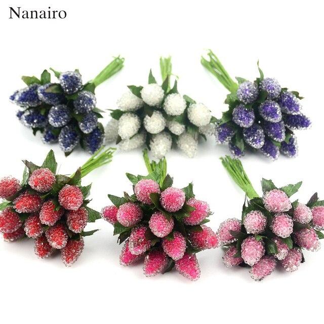 Fruits en verre artificiel, baies, plastique, Fruits rouges, pour décoration de mariage pour la maison, fausse fleur de mûrier