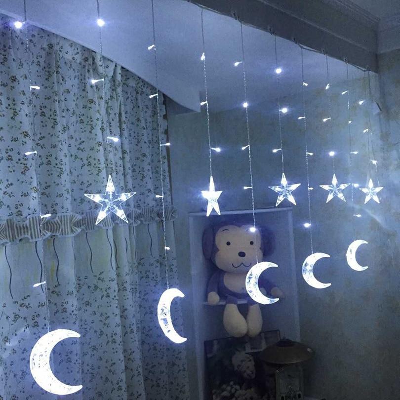 AC 220V 2.5M 138leds Fairy Star Moon LED Curtain Icicle String Lights Christmas Icicle Light ramadam Decoration Lights цена 2017