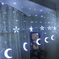 AC110V 220V 2 5M 138leds Fairy Star Moon LED Curtain Icicle String Lights Christmas Icicle Light