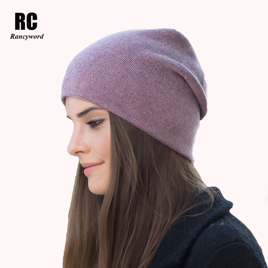 [Rancyword] New Factory Direct Knitted Wool Caps Female Skullies Beanies Thick Casual Winter Warm Hats for Women's Hat RC1216 fibonacci winter hat knitted wool beanies skullies casual outdoor ski caps high quality thick solid warm hats for women