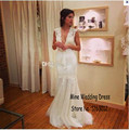 Sexy Plunging Sheer V-neck Wedding Dresses Appliques Sash Mermaid Elegant Bride Gowns vestido de noiva Dress vestido branco