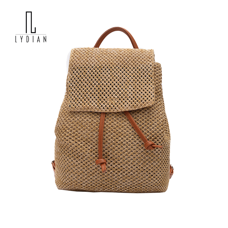 Lydian String Cover closed Rucksack Summer Drawstring Bag 2017 Fashion Woven Shoulder Bag Hollow Out Backpack