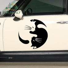 Earlfamily 2x Pet Cat Kitten Dier Liefhebbers Liefde Kus Yin En Yang Tai Chi Auto Stickers Suv Deur Zijruit vinyl Decal 9 Kleuren(China)