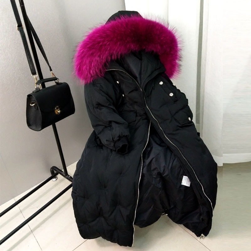Winter Parkas Loose Korean Casual Big Real Raccoon Fur Collar Down Warm Jacket Female Long Thick Knee Length Coat Tide MZ1878 large size winter parkas women hooded jacket coats korean loose thick big fur collar down long overcoat casual warm lady jackets