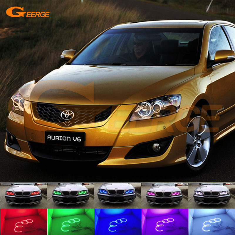 For Toyota Aurion CAMRY 2006 2007 2008 2009 Excellent Angel Eyes Multi-Color Ultra bright RGB LED Angel Eyes kit for toyota camry xv40 2006 2007 2008 2009 altise excellent angel eyes multi color ultra bright rgb led angel eyes kit halo rings