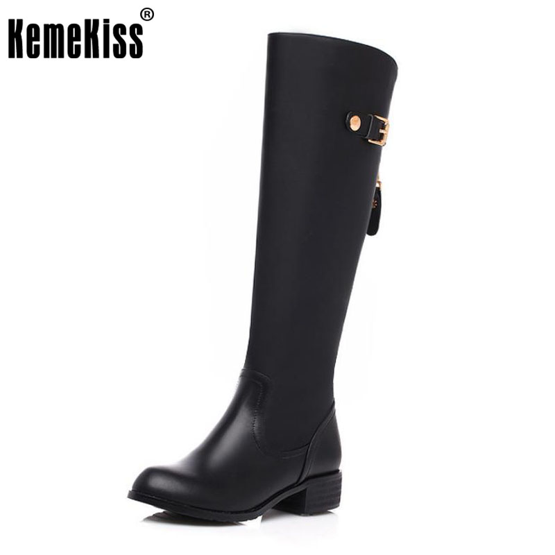 KemeKiss Women Real Genuine Leather Round Toe Knee Boots Woman Low Heel Knight Boot Female Zipper Flat Shoes Size 33-46 2017 new arrival winter plush genuine leather basic women boots knight zipper round toe low heel knee high boots zy170904