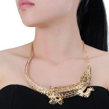 c6eacd1b9feb Moda plata y oro Color cocodrilo cadena Collar declaración colgante babero  Collar