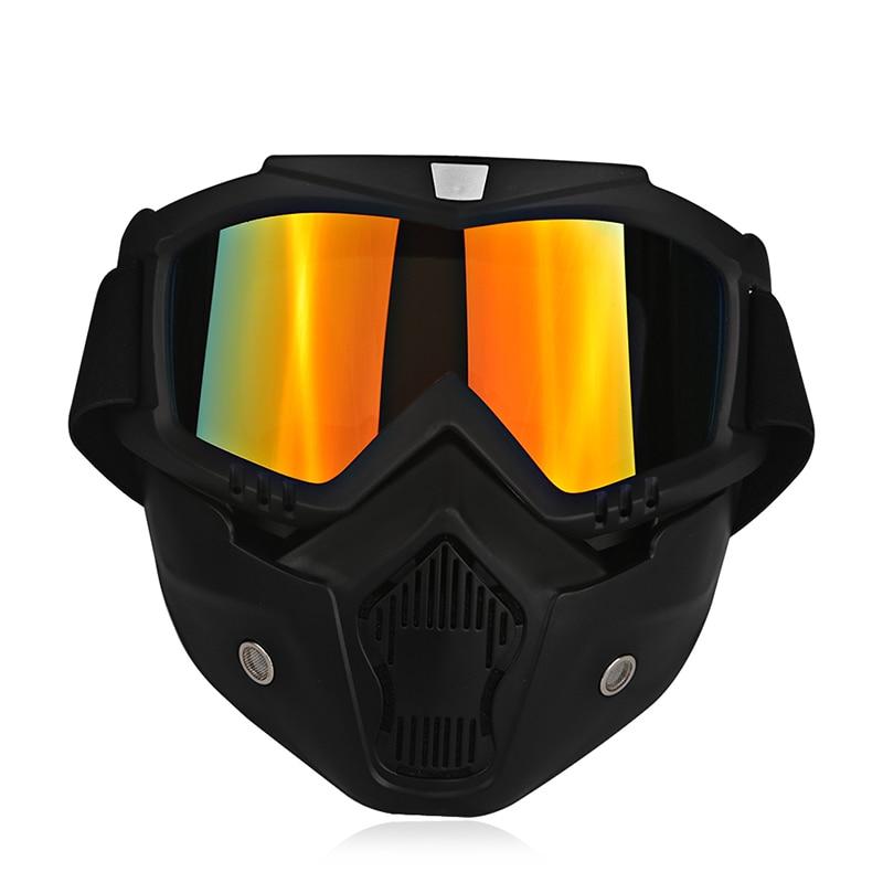 Ski Bike Motorcycle Face Mask Goggles Motocross Motorbike Motor Open Face Detachable Goggle Helmets Vintage Glasses Universal