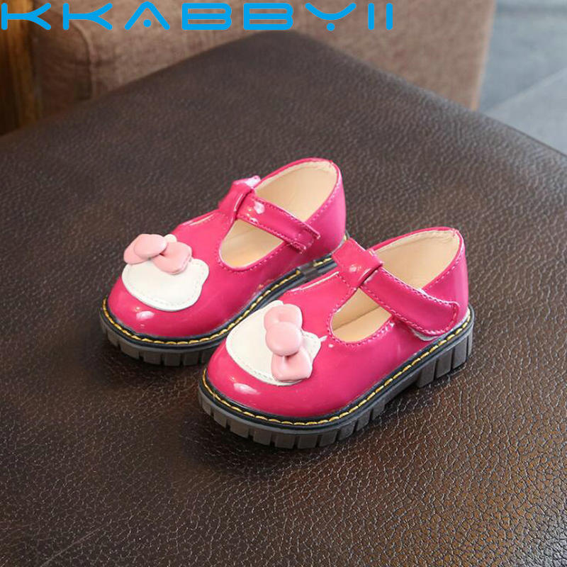 Kids Shoes Spring Autumn 2018 High Quality Baby Girls Leather Shoes with Bows Cute Kitty Cat Princess Shoes