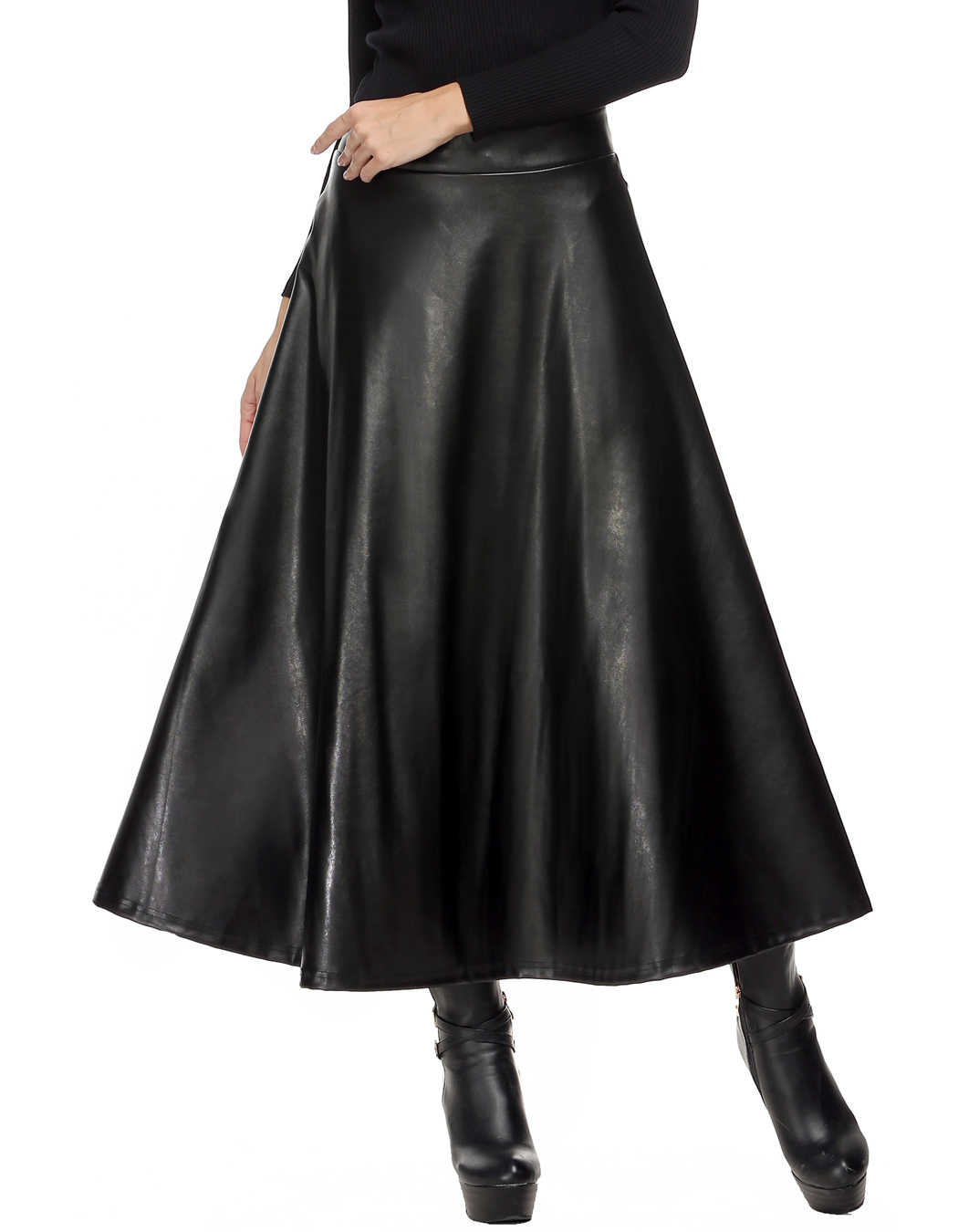 7f708af005 Summer Faux Leather Skirt Pleated Women Skirt High Waist Swing Long Maxi  Skirts for Womens Spring