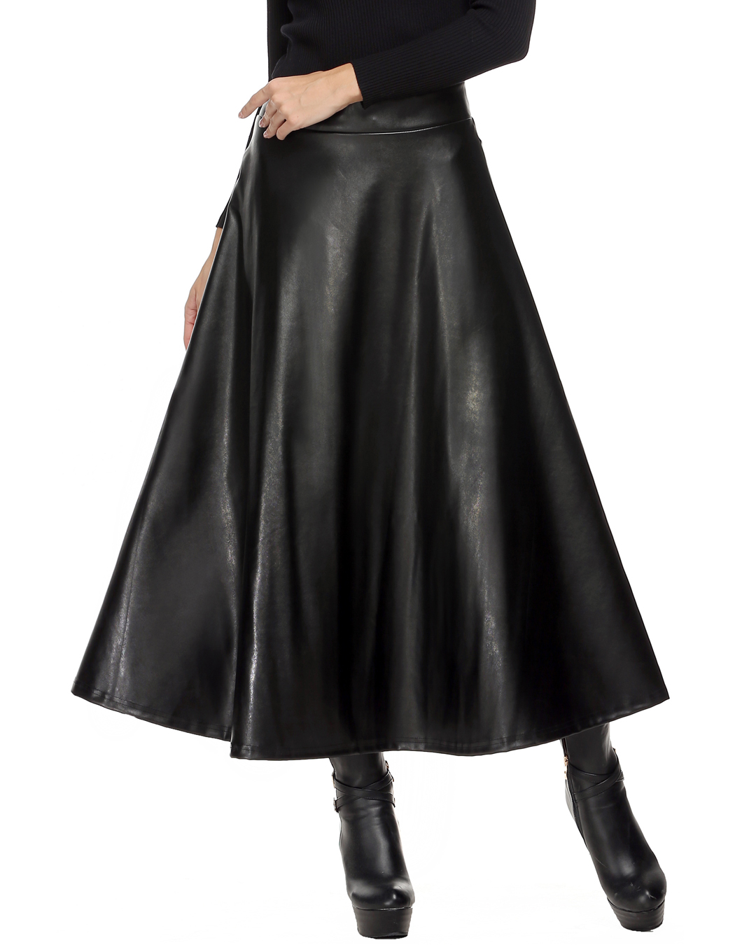 Summer Faux Leather Skirt Pleated Women Skirt High Waist Swing Long Maxi Skirts for Womens Spring Autumn Solid Black Tutu Skirts
