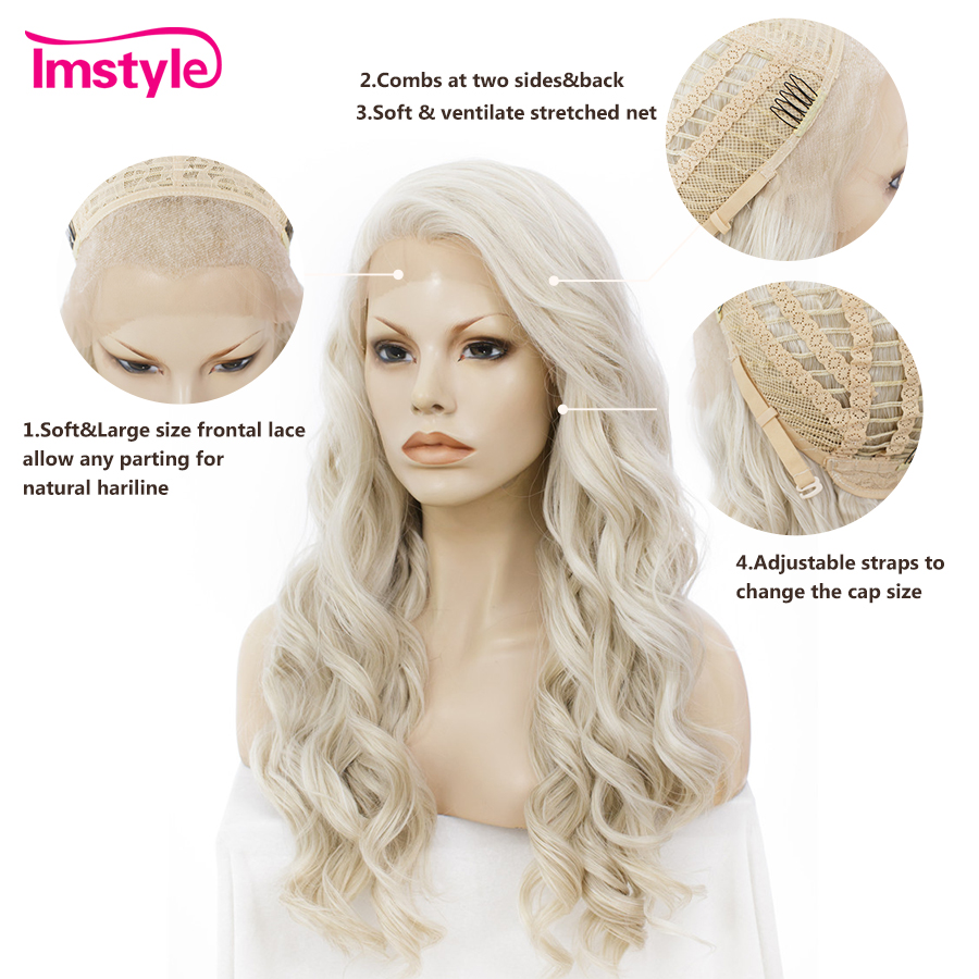 Image 4 - Imstyle Ash Blonde Lace Front Wigs For Women Synthetic Hair Wig Long Wavy  Cosplay Wigs Heat Resistant Fiber Glueless 24 Inches-in Synthetic None-Lace  Wigs from Hair Extensions & Wigs