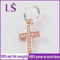 LS 100 Silver And 14 K Rose Gold Symbol Of Faith Dangle Charm Fit Original Bracelets