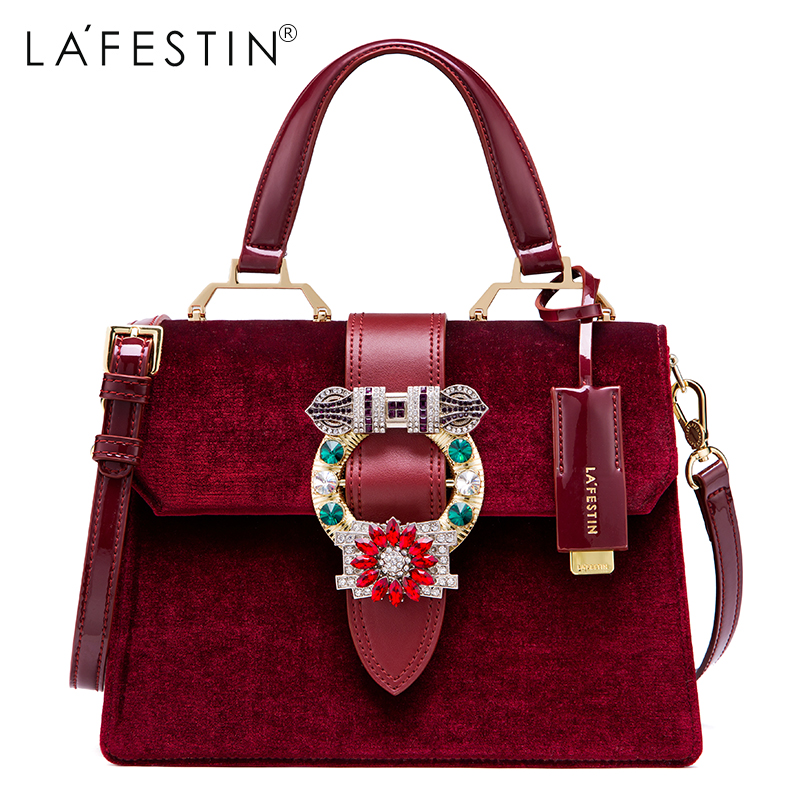 LAFESTIN Famous Bags Women Designer Lock Diamonds Handbags Velvet Luxury Totes Multifunction brands Shoulder Bag bolsa lafestin luxury shoulder women handbag genuine leather bag 2017 fashion designer totes bags brands women bag bolsa female