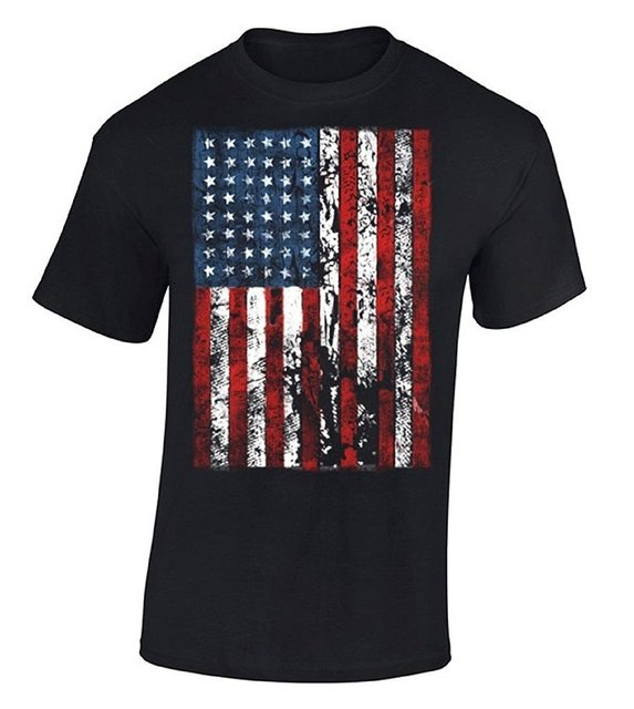 Cotton Jersey Mens Tees American Flag Distressed T-shirt Independence Day  USA Flag Shirt Comfort