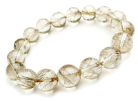 12mm Natural Brazil Silver Hair Rutilated Quartz Crystal Round Beads Bracelets For Women Femme Charm Stretch Bracelet Just One