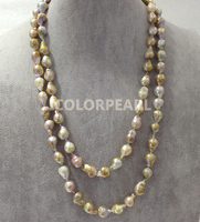 Popular 125cm Long 10 12mm Waterdrop Irregular Natural Freshwater Pearl Jewelry Sweater Necklace
