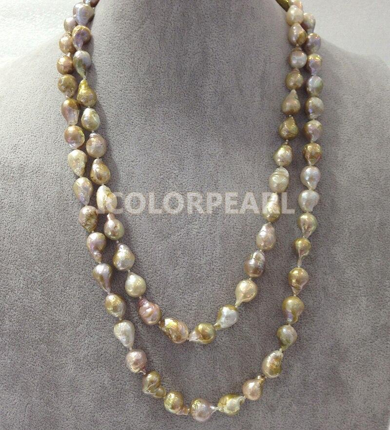 WEICOLOR populaire 125 cm Long 10-12mm goutte d'eau/irrégulière naturel perle d'eau douce bijoux pull collier. - 2
