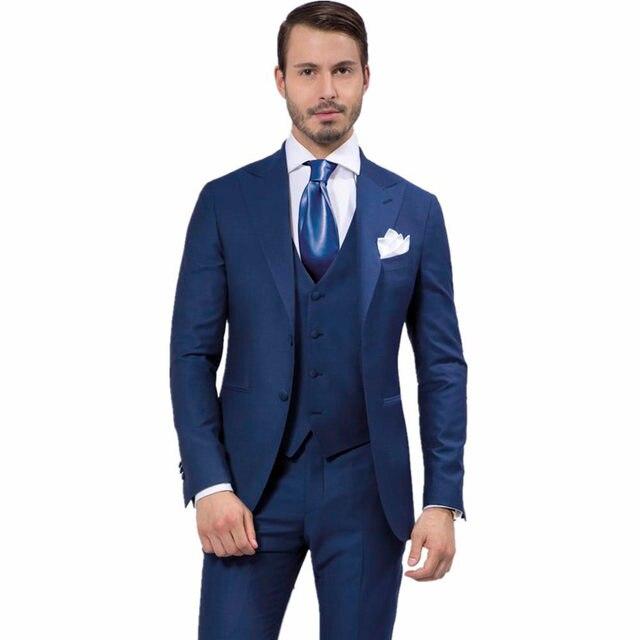 aa7c021a5b7a Homens Ternos de Grife de Moda Azul Marinho Noivo Smoking Slim Fit Melhor Homem  Vestido de Festa de Casamento Estilo da Manhã (Jacket + calça + Colete)