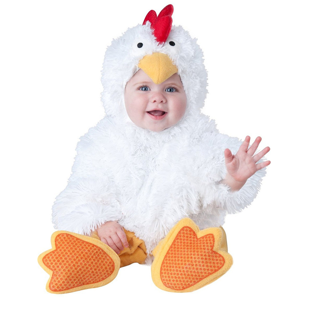 Carnival Halloween Baby Boys Girls Costume Unisex White chicks Animal Cosplay Karneval Baby clothes set Rompers vestido infantil