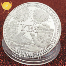 Yes & NoYes No Culture Art Decision Commemorative Coin Three-dimensional Retro Pattern Silver Coins Collectibles Sun Moon