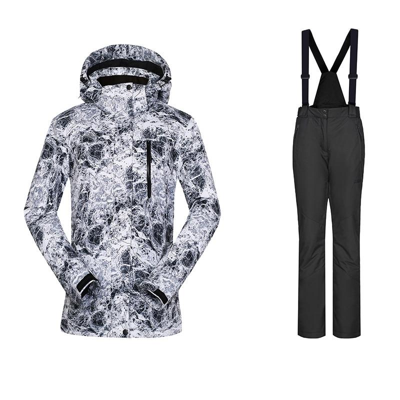 Grande Expérience de Ski Costume Femmes Étanche Thermique Snowboard Costumes Femelle D'hiver Veste Pantalon Femmes Survêtement Pour Femmes 42-52