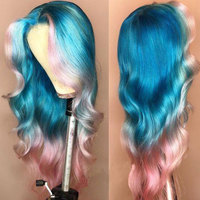 Ombre Blue Pink Blonde Yellow Lace Front Human Hair Wigs Pre Plucked Remy Brazilian Body Wave Wig Glueless Wigs for Black Women