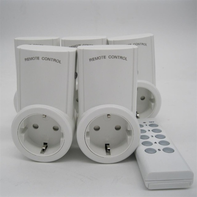 High Quality Eu 5 Pack Wireless Remote Control Power Outlet Light